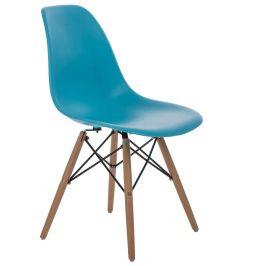 Culty Nebesky modrá plastová židle DSW s bukovou podnoží