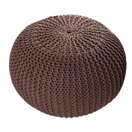Moebel Living Tmavý kávově hnědý sedací pletený puf Fluffy 50 cm