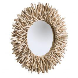 Moebel Living Přírodní teakové kulaté zrcadlo Sticky 80 cm