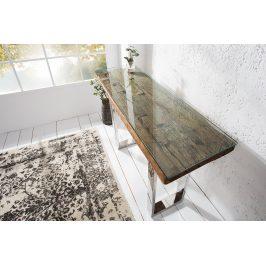 Moebel Living Masivní teakový toaletní stolek Raw 120 x 40 cm