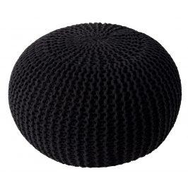 Moebel Living Černý sedací pletený puf Fluffy 50 cm