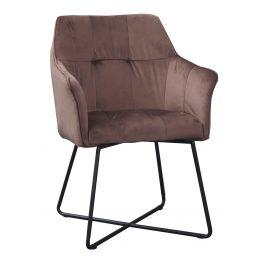 Moebel Living Hnědá sametová jídelní židle Melissa
