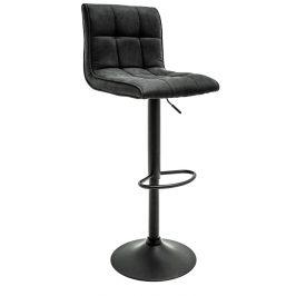Moebel Living Šedá sametová barová židle Navarro 95/115 cm