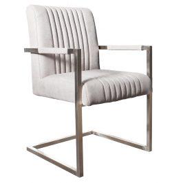 Moebel Living Světle šedá čalouněná jídelní židle Harmon s područkami