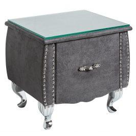 Moebel Living Šedý kožený noční stolek Calderon