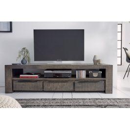 Moebel Living Šedý mangový TV stolek Fabio 170 x 45 cm