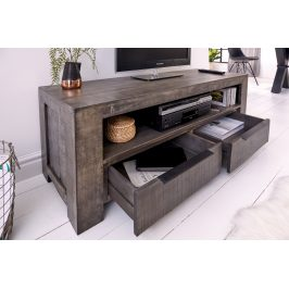 Moebel Living Šedý mangový TV stolek Fabio 130 x 45 cm