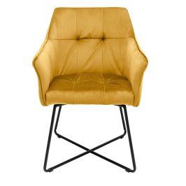 Moebel Living Žlutá sametová jídelní židle Melissa