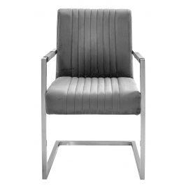Moebel Living Šedá sametová jídelní židle Harmon s područkami