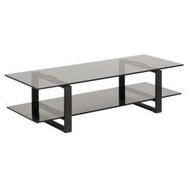 SCANDI Černý skleněný TV stolek Divo 120x45 cm