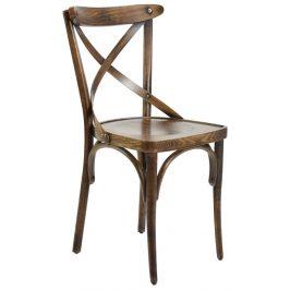 SitBe Hnědá dřevěná jídelní židle Shelby s patinou