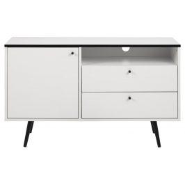 SCANDI Bílý TV stolek Jerry 124 cm