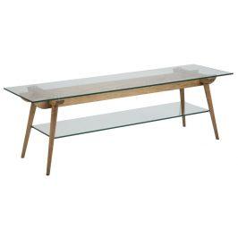 SCANDI Skleněný TV stolek Costa 160 x 45 cm