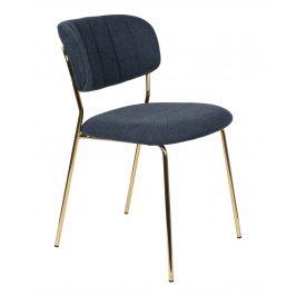 White Label Living Modrá látková židle WLL Jolien se zlatou podnoží