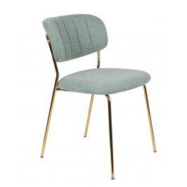 White Label Living Světle tyrkysová látková židle WLL Jolien se zlatou podnoží