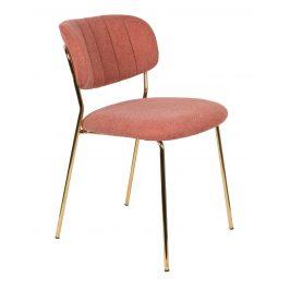 White Label Living Růžová látková židle WLL Jolien se zlatou podnoží