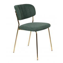 White Label Living Zelená látková židle WLL Jolien se zlatou podnoží