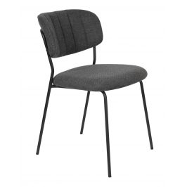 White Label Living Šedá látková židle WLL Jolien s černou podnoží