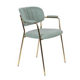 White Label Living Světle tyrkysová látková židle WLL Jolien s područkami