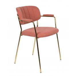 White Label Living Růžová látková židle WLL Jolien s područkami