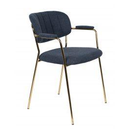 White Label Living Modrá látková židle WLL Jolien s područkami