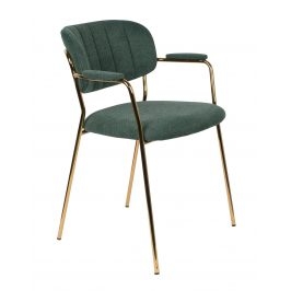 White Label Living Zelená látková židle WLL Jolien s područkami