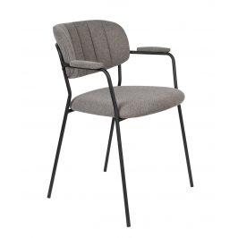 White Label Living Světle šedá látková židle WLL Jolien s područkami