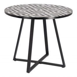 Černo-bílý kulatý kamenný jídelní zahradní stůl LaForma Tella 90 cm