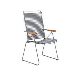 Šedá plastová polohovací zahradní židle HOUE Click