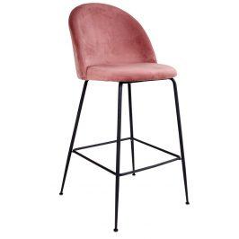 Růžová sametová barová židle Nordic Living Anneke s černou podnoží