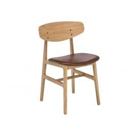 Hnědá kožená jídelní židle HOUE Siko