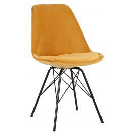 Moebel Living Žlutá sametová jídelní židle Alara