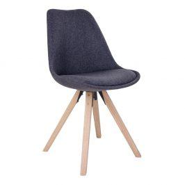 Tmavě šedá čalouněná jídelní židle Nordic Living Helgi s přírodní podnoží