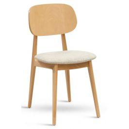 SitBe Bílá buková čalouněná jídelní židle Rabbit