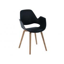Černá plastová jídelní židle HOUE Falk s dubovou podnoží