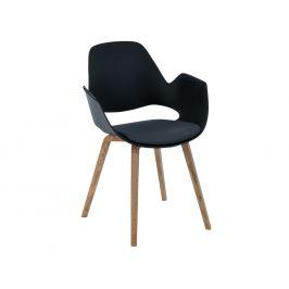Tmavě šedá čalouněná jídelní židle HOUE Falk s dubovou podnoží