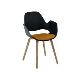 Žlutá čalouněná jídelní židle HOUE Falk s dubovou podnoží