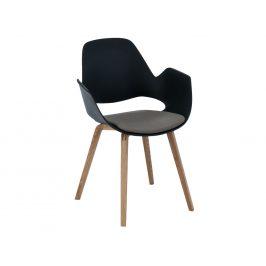Béžová čalouněná jídelní židle HOUE Falk s dubovou podnoží