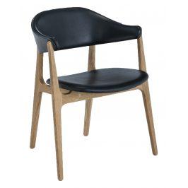 Černá kožená jídelní židle HOUE Spän