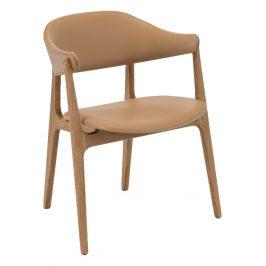 Béžová kožená jídelní židle HOUE Spän