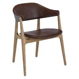 Hnědá kožená jídelní židle HOUE Spän Židle do kuchyně