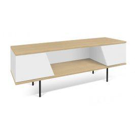 Porto Deco Bílý dubový TV stolek Dexi 140 x 40 cm