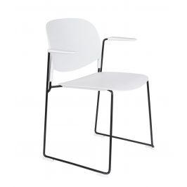 White Label Living Bílá plastová židle WLL Stacks s područkami
