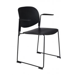 White Label Living Černá plastová  židle WLL Stacks s područkami