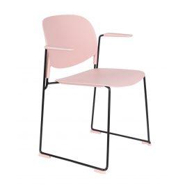 White Label Living Světle růžová plastová židle WLL Stacks s područkami