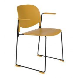 White Label Living Okrová plastová židle WLL Stacks s područkami