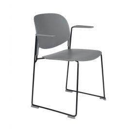 White Label Living Šedá plastová židle WLL Stacks s područkami