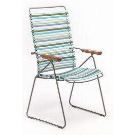 Modrozelená plastová polohovací zahradní židle HOUE Click