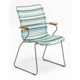 Modrozelená plastová zahradní židle HOUE Click II. s područkami