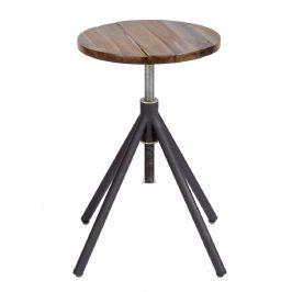 Moebel Living Černá kovová stolička Knisp s dřevěným sedákem